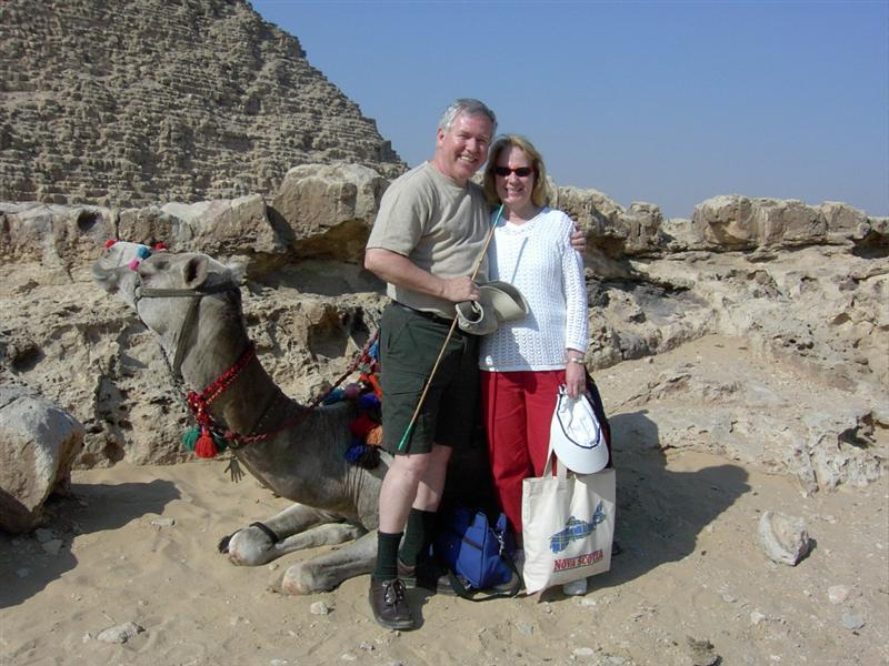 egypt river cruise - deb and dan and camel